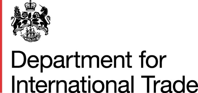 This is the small stacked logo for Departement of international Trade with Red bar in eps format